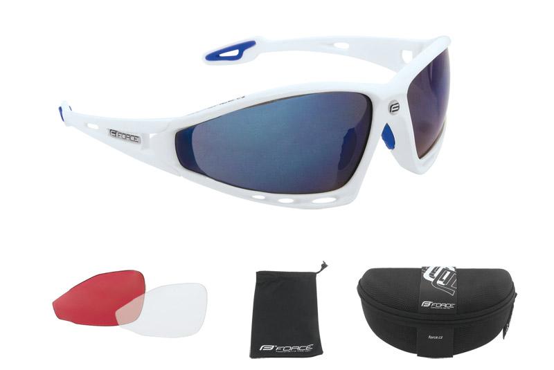 Brýle FORCE PRO bílé - modrá skla