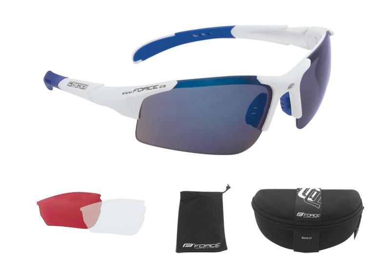 Brýle FORCE SPORT bílé - modrá skla