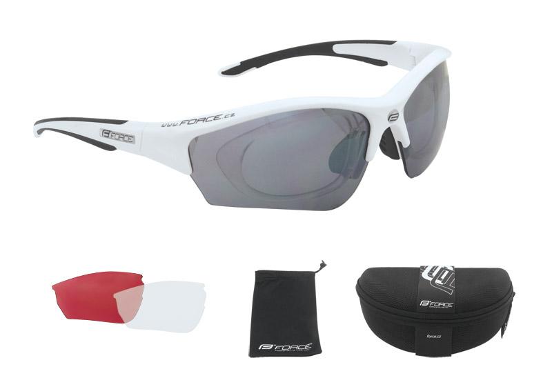 Brýle FORCE RIDE bílé - černá skla - dioptrický klip