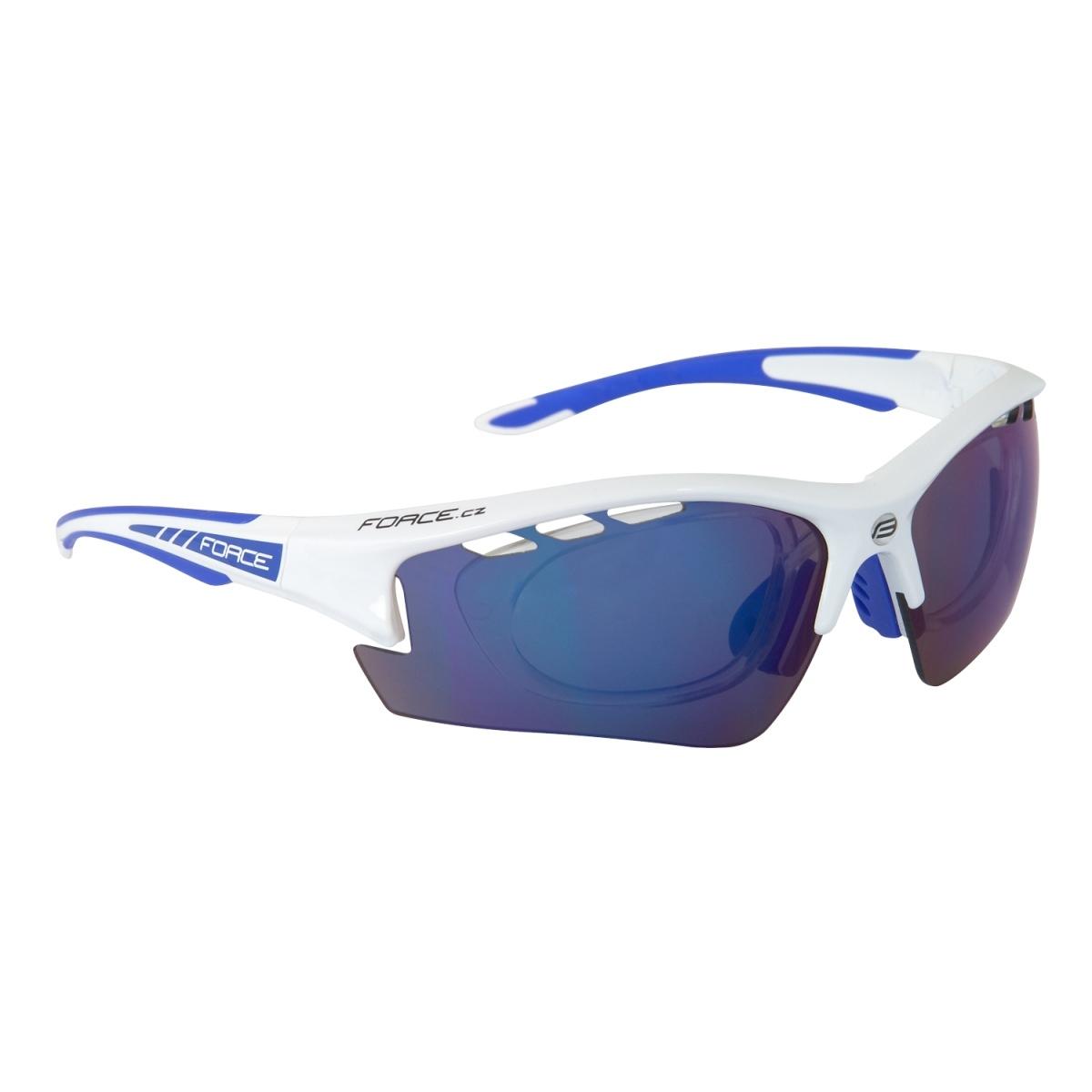 Brýle FORCE RIDE PRO bílé - dioptrický klip - modrá laser skla