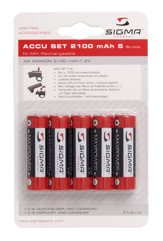 Baterie SIGMA tužkové dobíjecí - 2100mAh
