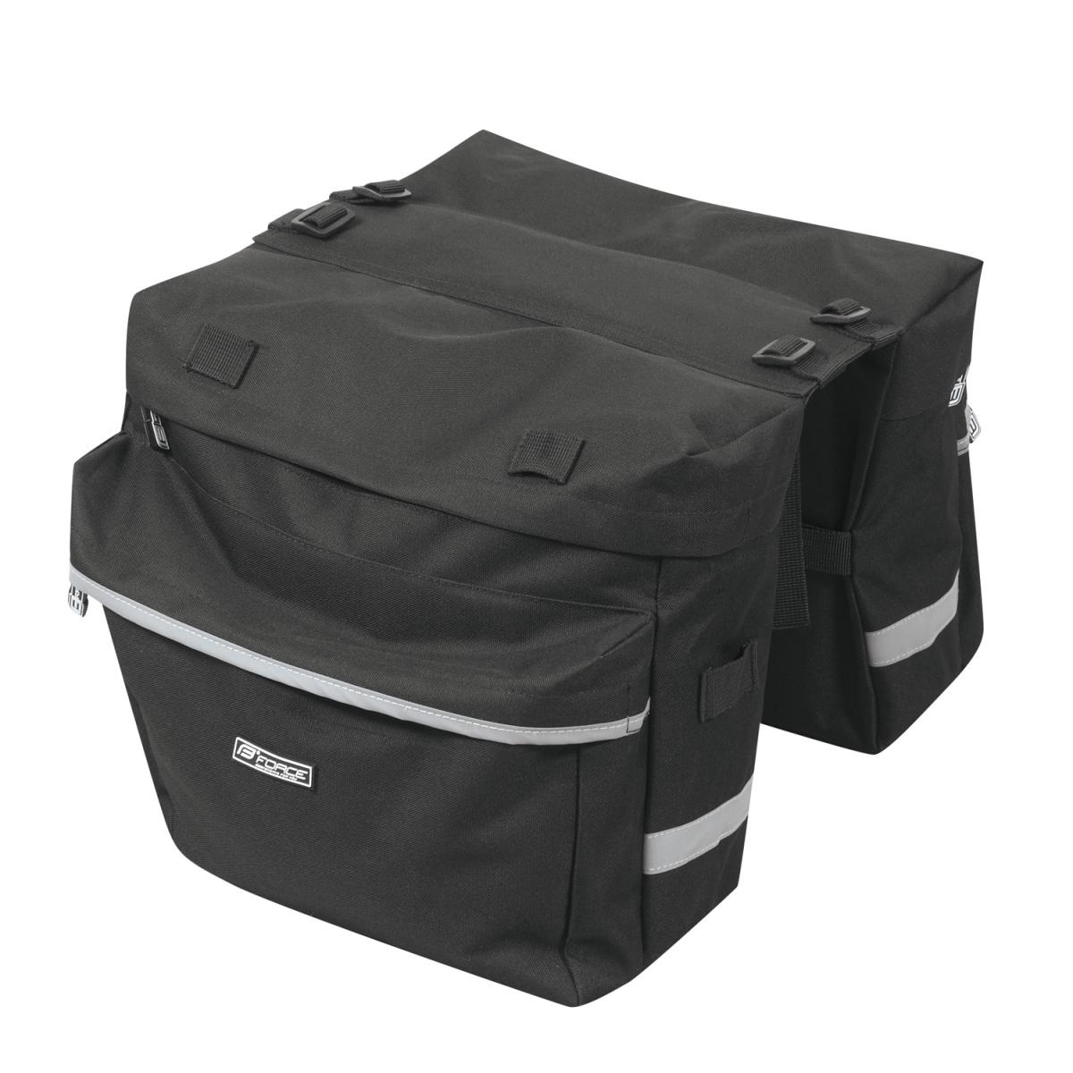 Brašna FORCE DOUBLE dvojbrašna na zadní nosič 2x10L - černá